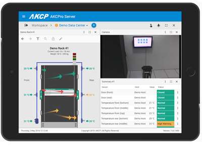 AKCPro Server security in tablet